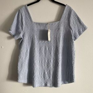 Lucky Brand M Square Neck Textured Top